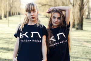 kids black t-shirt with white komera neza print logo
