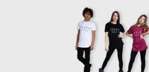 kids white, black and burgundy t-shirt with white komera neza print logo
