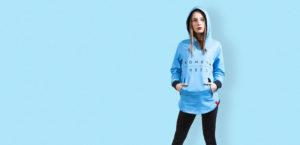 womens blue zipper hoodie with black komera neza print logo