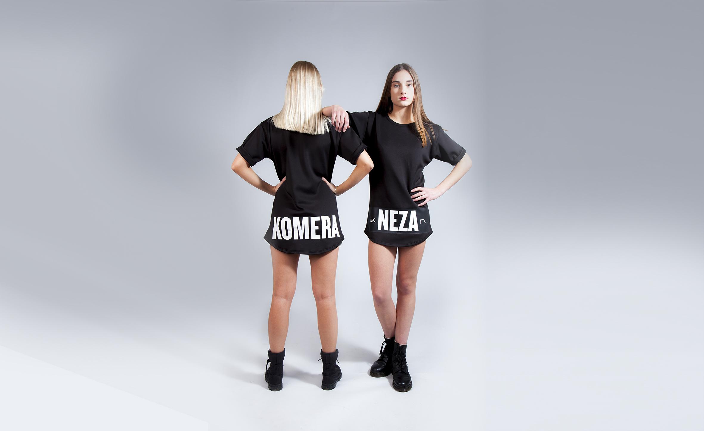 womens black exclusive t-shirt with white komera neza logo print