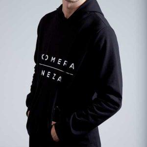 mens black zipper hoodie with black komera neza print logo