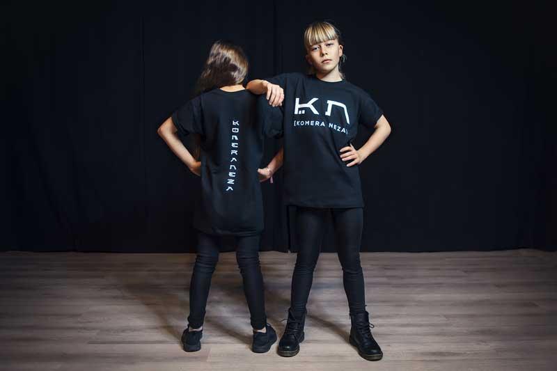 kids black t-shirt with white komera neza print logo
