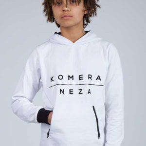 white zipper hoodie with black komera neza print logo