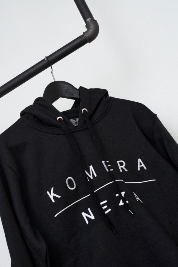 black hoodie with white komera neza embroidered logo