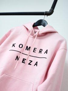 pink hoodie with black komera neza print logo