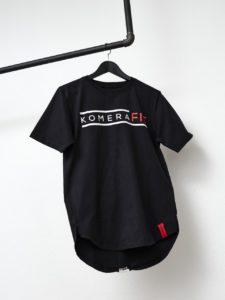 komerafit black t-shirt with white logo print