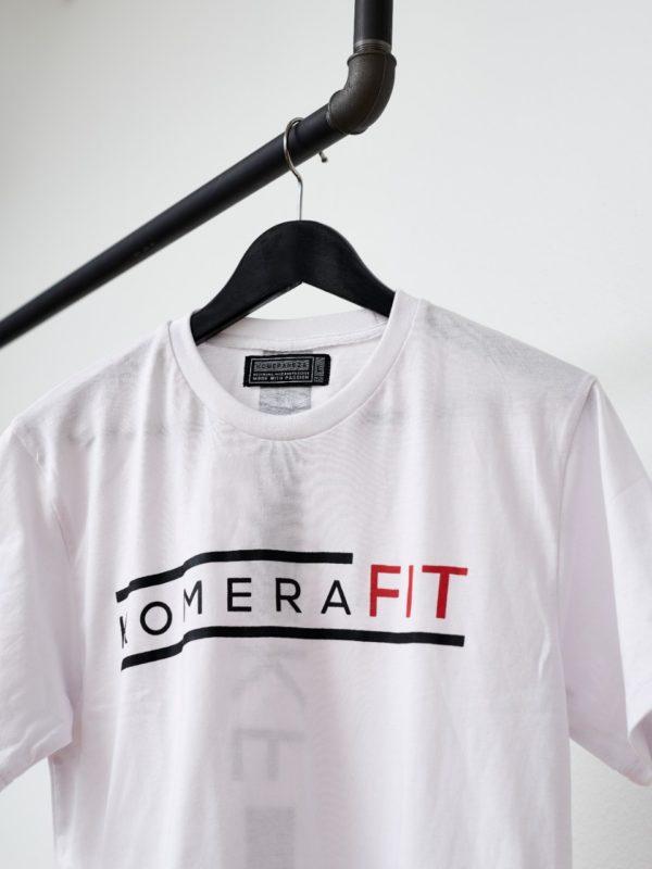 komerafit white t-shirt with black logo print