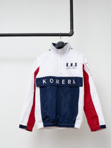 KOMERA NEZA white jacket with front pocket and embroidered logo
