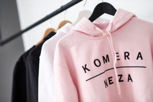 hoodis with black komera neza print logo