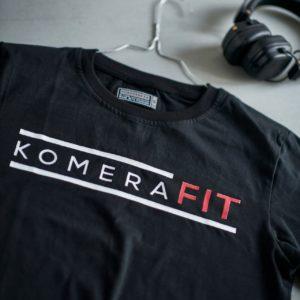 black t-shirt with black komerafit print logo