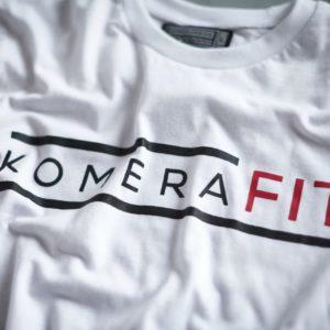white t-shirt with black komerafit print logo