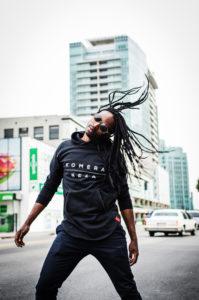mens black zipper hoodie with white komera neza print logo