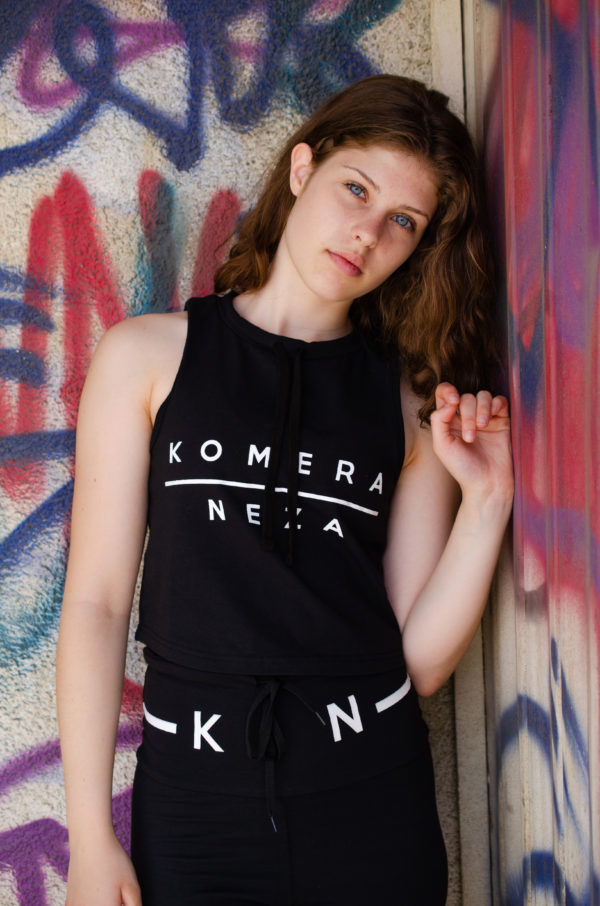womens black yoga set with komera neza print logo