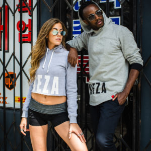 womens grey crop hoodie with white komera neza print logo