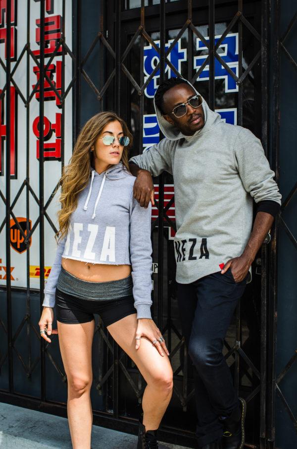 womens grey crop hoodie with white komera neza print logo