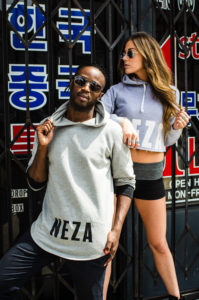 mens pocketless hoodie with black komera neza print logo