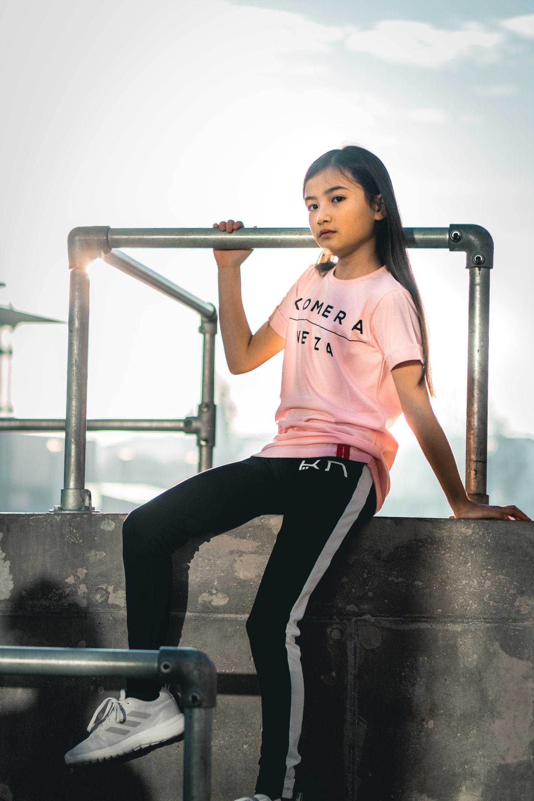kids pink t-shirt with black komera neza print logo