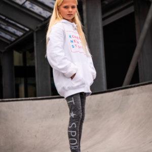 kids white hoodie with komera neza studios print logo