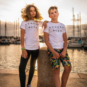 kids white t-shirt with black komera neza print logo
