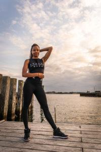 womens black leggings with komeraneza print logo