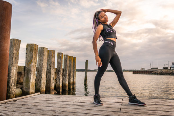 womens black yoga set with black komera neza print logo