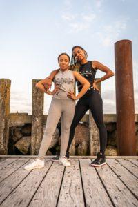 womens grey and black yoga set with komera neza print logo