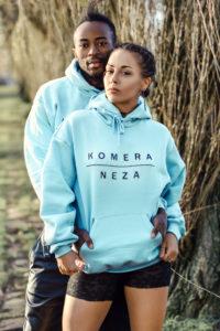 unisex blue hoodie with black komera neza print logo
