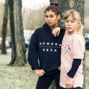 kids black hoodie with white komera neza print logo