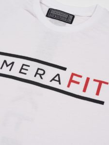 white t-shirt with black komerafit print logo