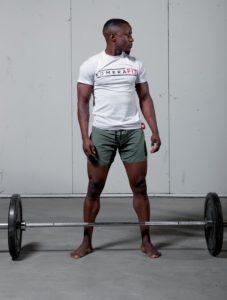 mens white t-shirt with black komerafit print logo