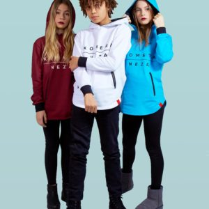 kids wearing burgundy, white, and blue zipper hoodie with komera neza print logo