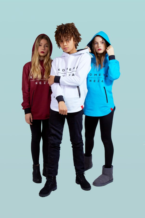 kids wearing burgundy, white, and blue zipper hoodie with komera neza print logo