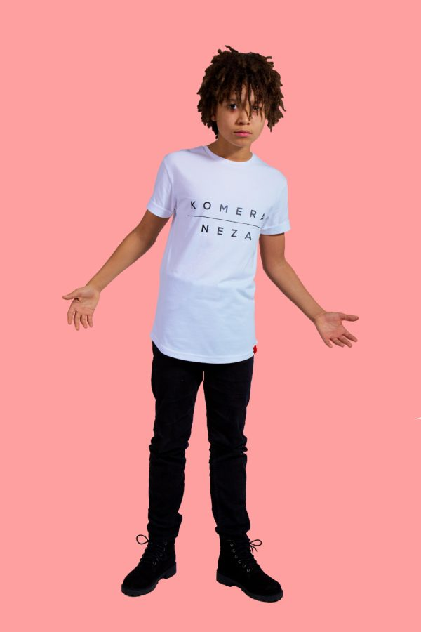 kid wearing white t-shirt with black komera neza print logo