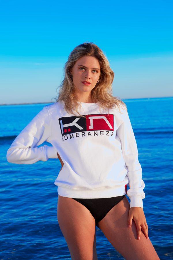 women's white logo sweatshirt with embroidered komera neza logo