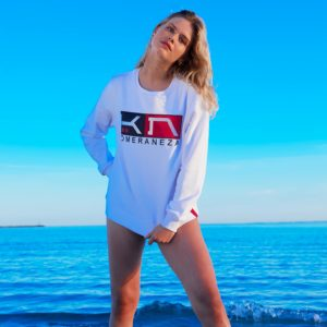 women's white logo sweatshirt with embroidered komera neza logo