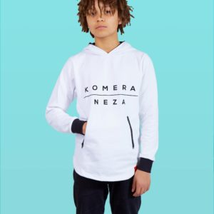 kids white zipper hoodie with black komera neza print logo