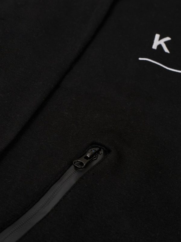 black zipper hoodie with black komera neza print logo