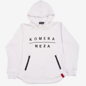 white zipper hoodie with black komera neza print logo
