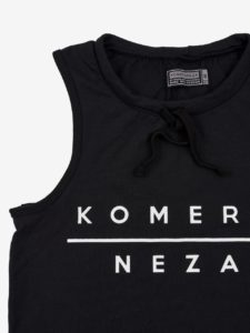 womens black komera neza yoga set top with white print logo