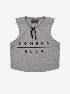 womens grey komera neza yoga set top with black print logo