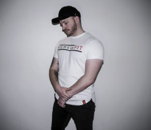 mens white t-shirt with black komerafit print logo