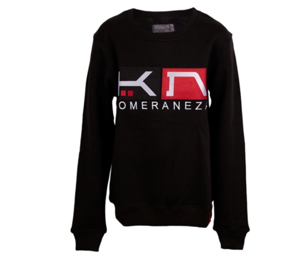 black sweatshirt with embroidered KN and komeraneza logo