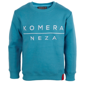 turkish blue sweatshirt with white embroidered komera neza logo