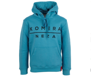 turkish blue hoodie with black embroidered komera neza logo