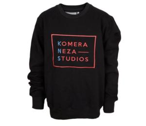 black sweatshirt with embroidered komera neza studios logo