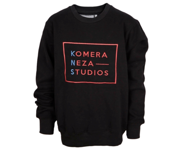 black sweatshirt with embroidered komera neza studios logo