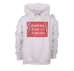 white hoodie with komera neza studios print logo