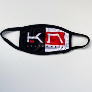 black and white face mask with KOMERA NEZA logo