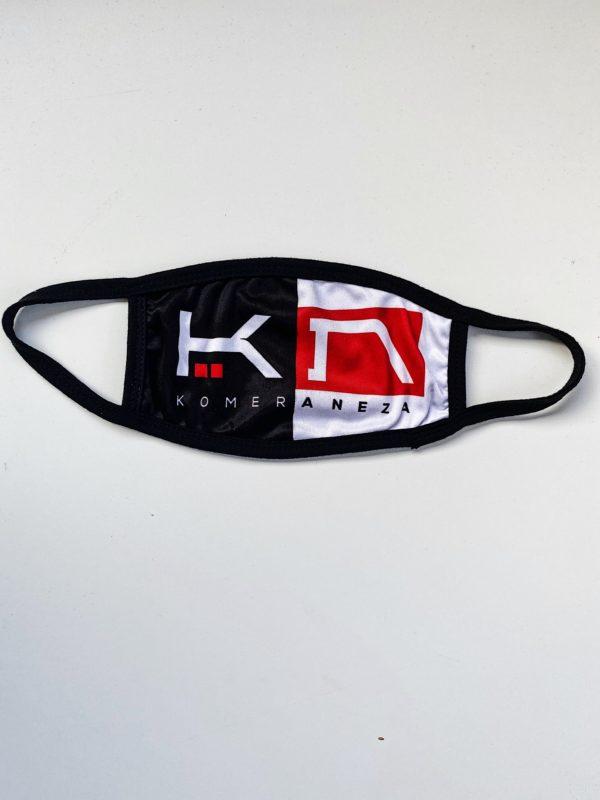black and white face mask with KOMERA NEZA logo